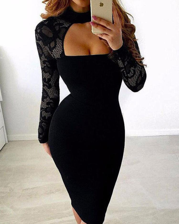 Sexy See Through Cut Out Bodycon Dress фото