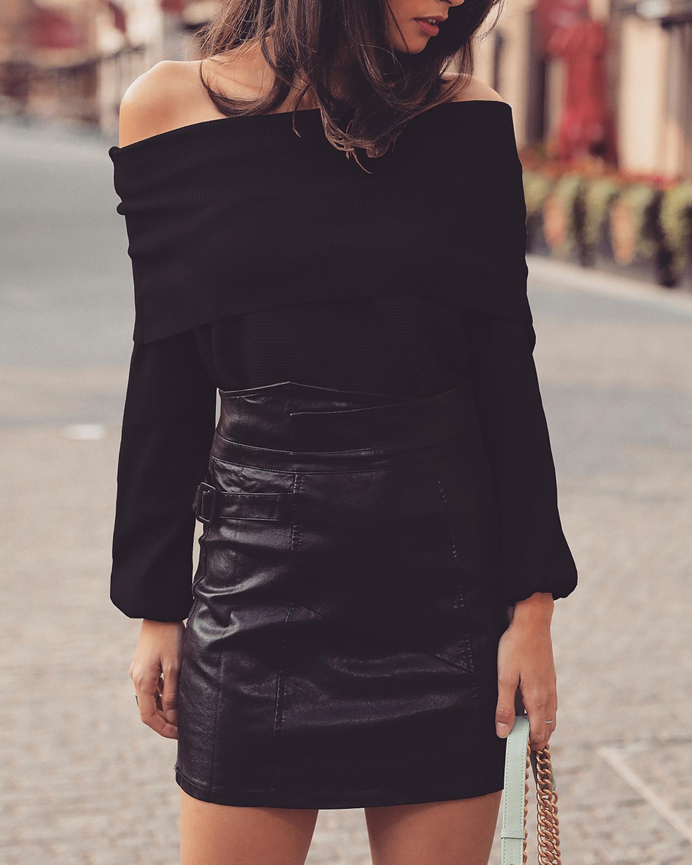 Fold-Over Off Shoulder Casual Blouse