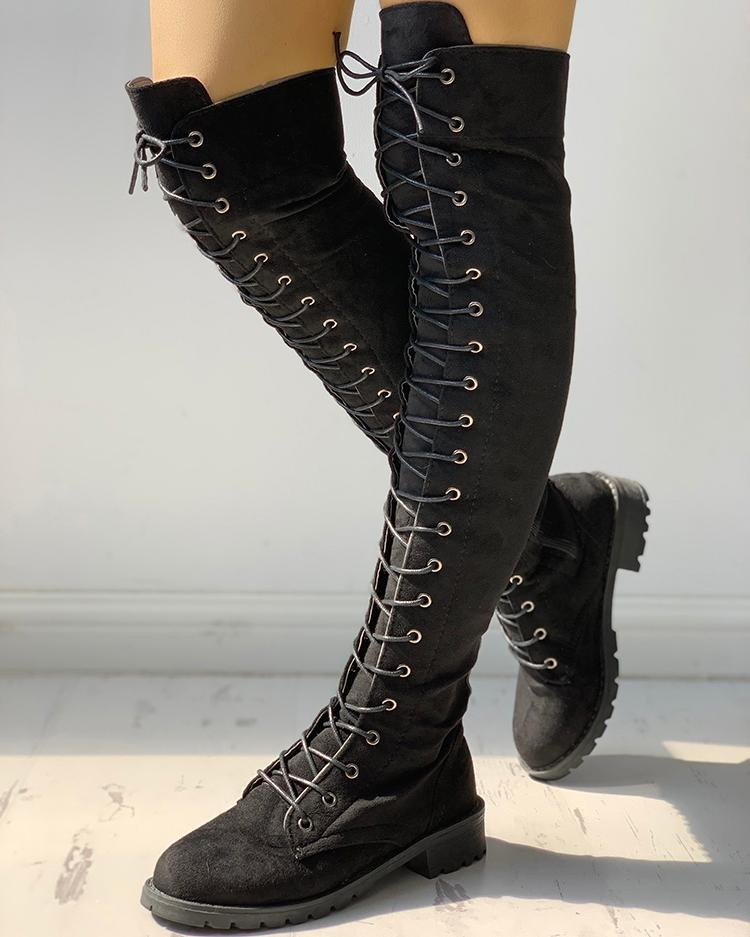 Knee-High Eyelet Lace Up Side Zipper Boots фото