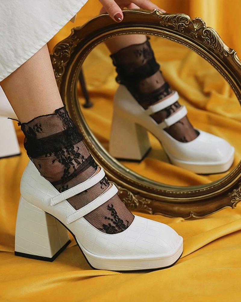 Solid Square-toe Block Heel Double Bandage Jenny Shoes