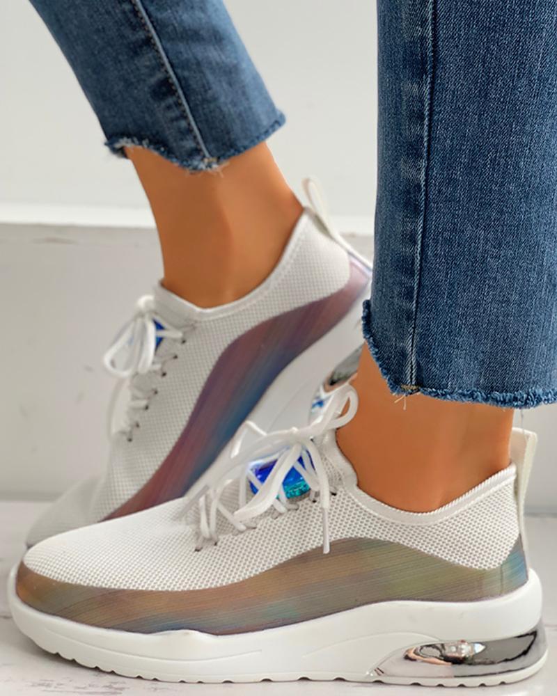 joyshoetique / Lace-Up Colorblock Breathable Sneakers
