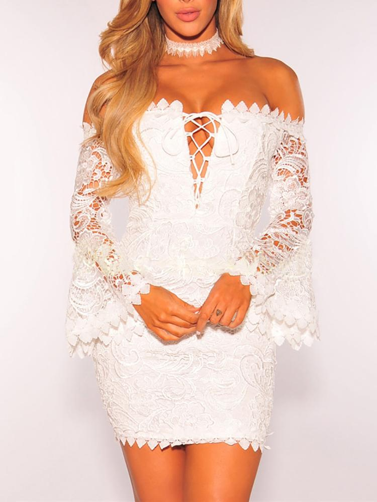 Alluring Lace Crochet Off Shoulder Skinny Mini Dress