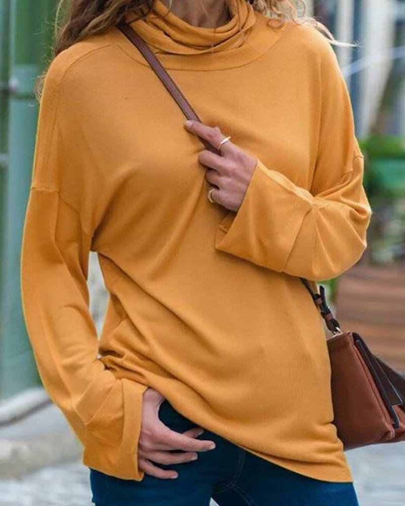 Solid Long Sleeve Casual Blouse фото