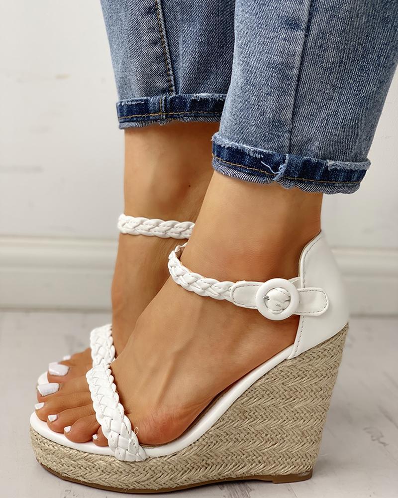 Braided Detail Platform Espadrille Wedge Sandals