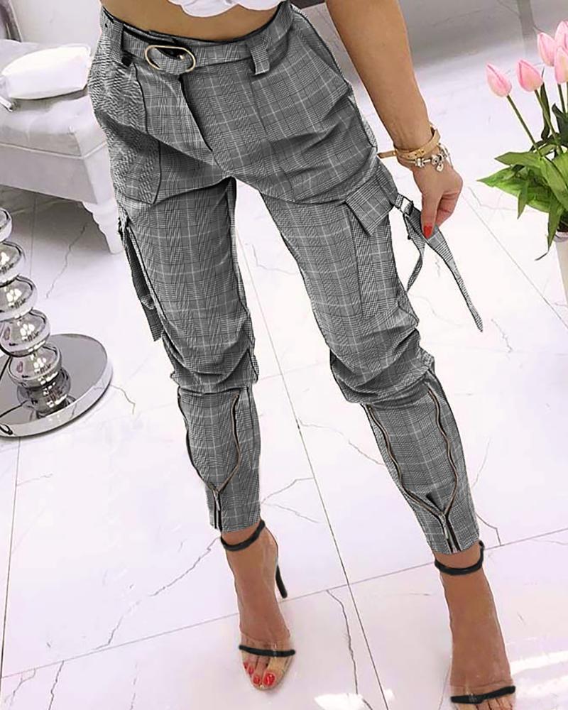 ivrose / Pantalones lápiz con diseño de cremallera con estampado de pata de gallo