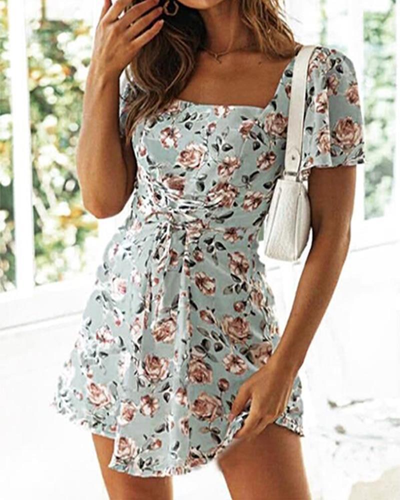Floral Print Square Neck Mini Dress фото