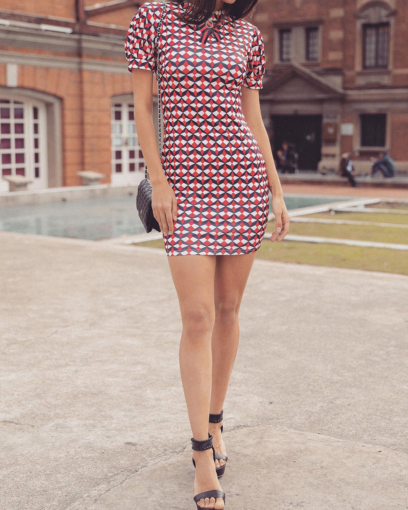 Geometric Print Tied Neck Cutout Back Bodycon Dress фото