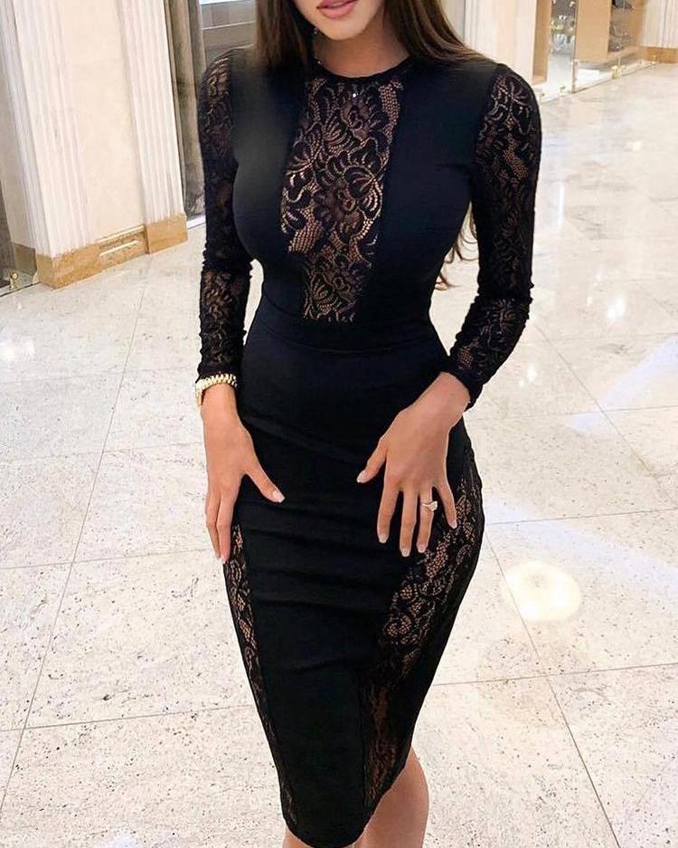 chicme / Vestido Midi Con Encaje Negro