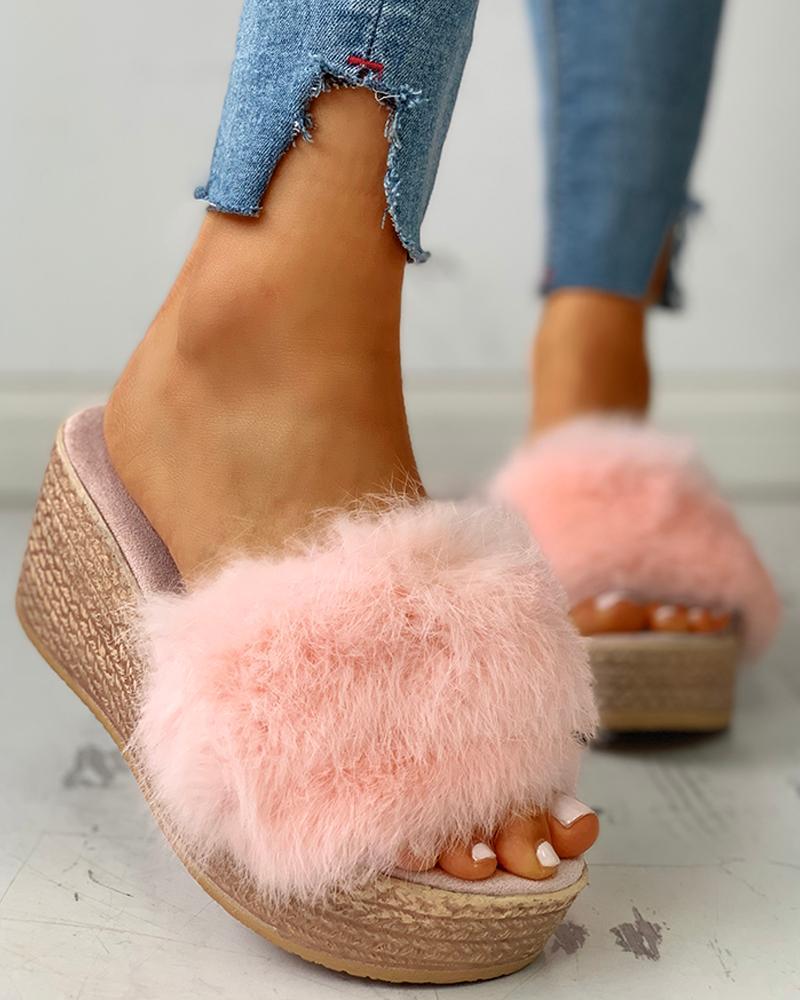 Fluffy Platform Wedge Heeled Sandals, Pink
