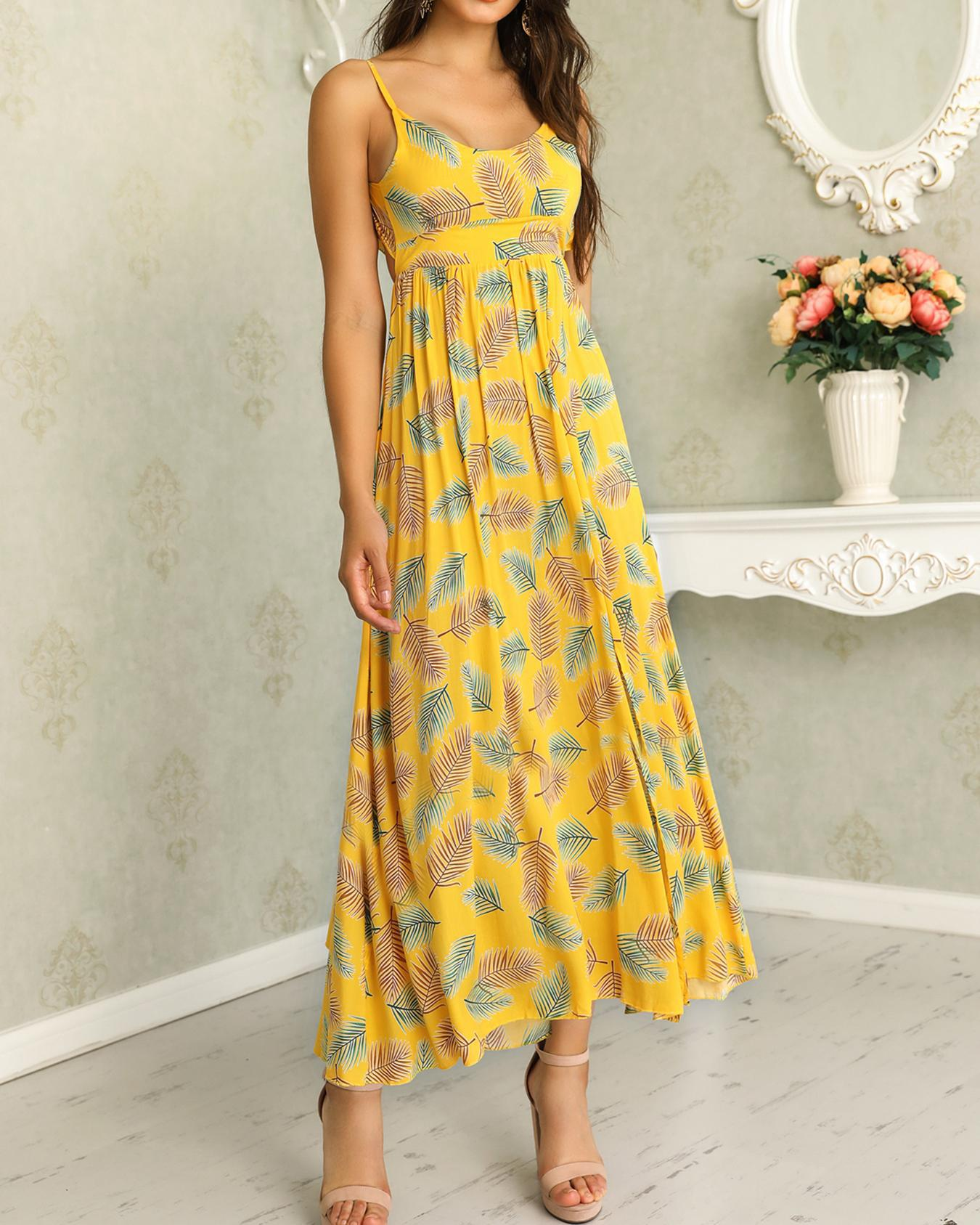 chicme / Palm Print Knotted Open Back Casual Dress