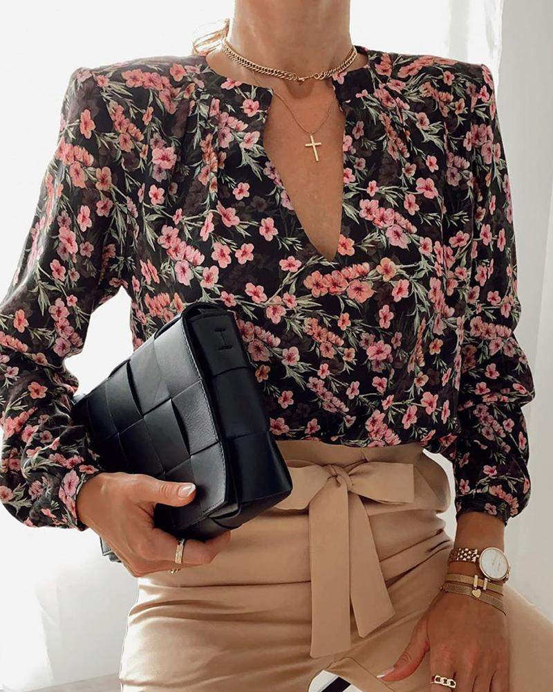 Floral Long Sleeve Loose Blouse фото