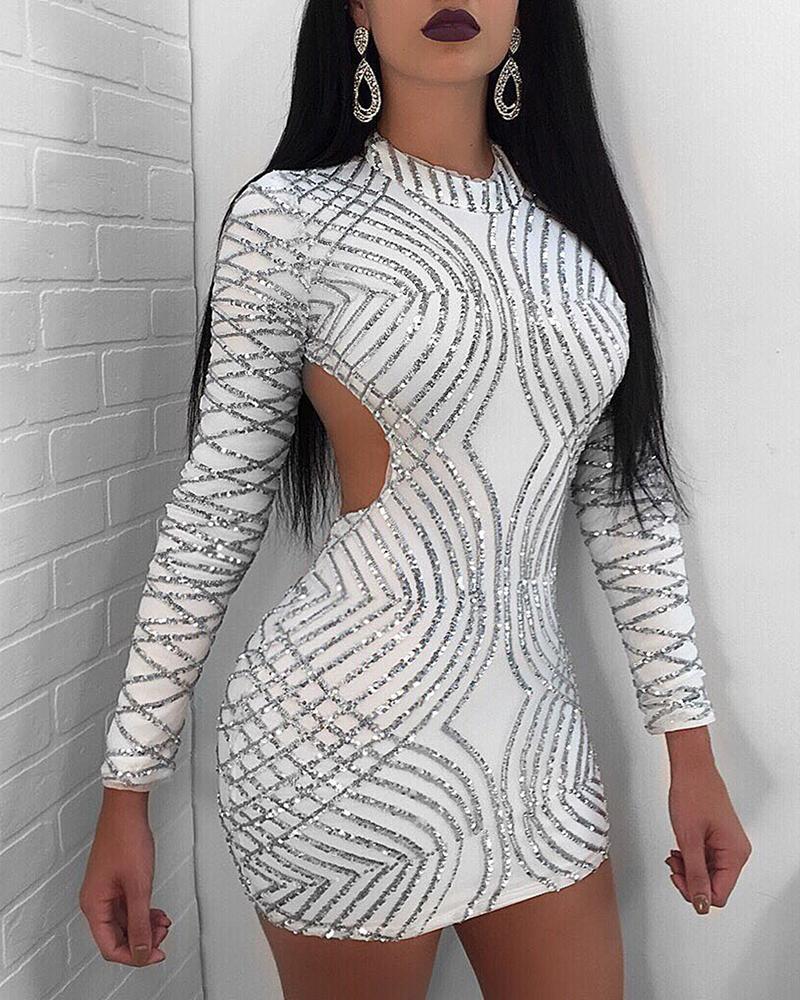 Glitter Backless Long Sleeve Sequins Bodycon Dress, White