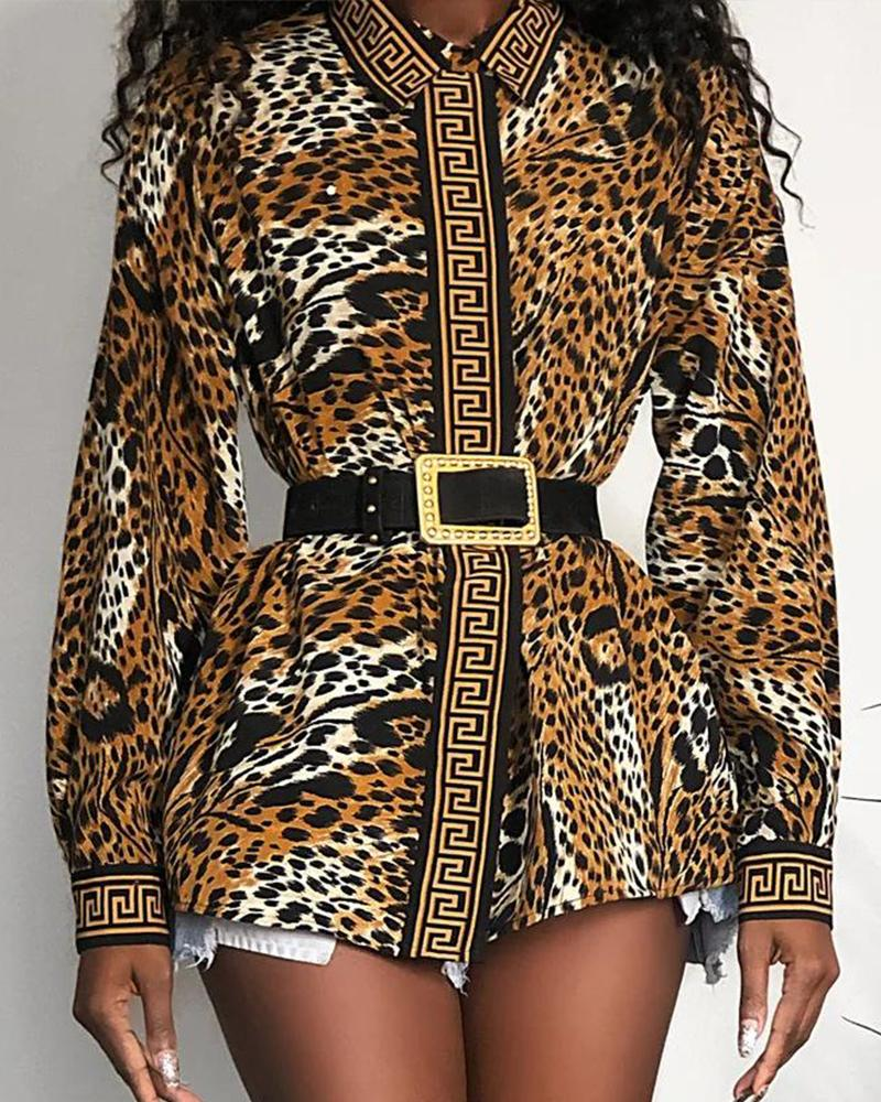 Double Breasted Leopard Print Tunic фото