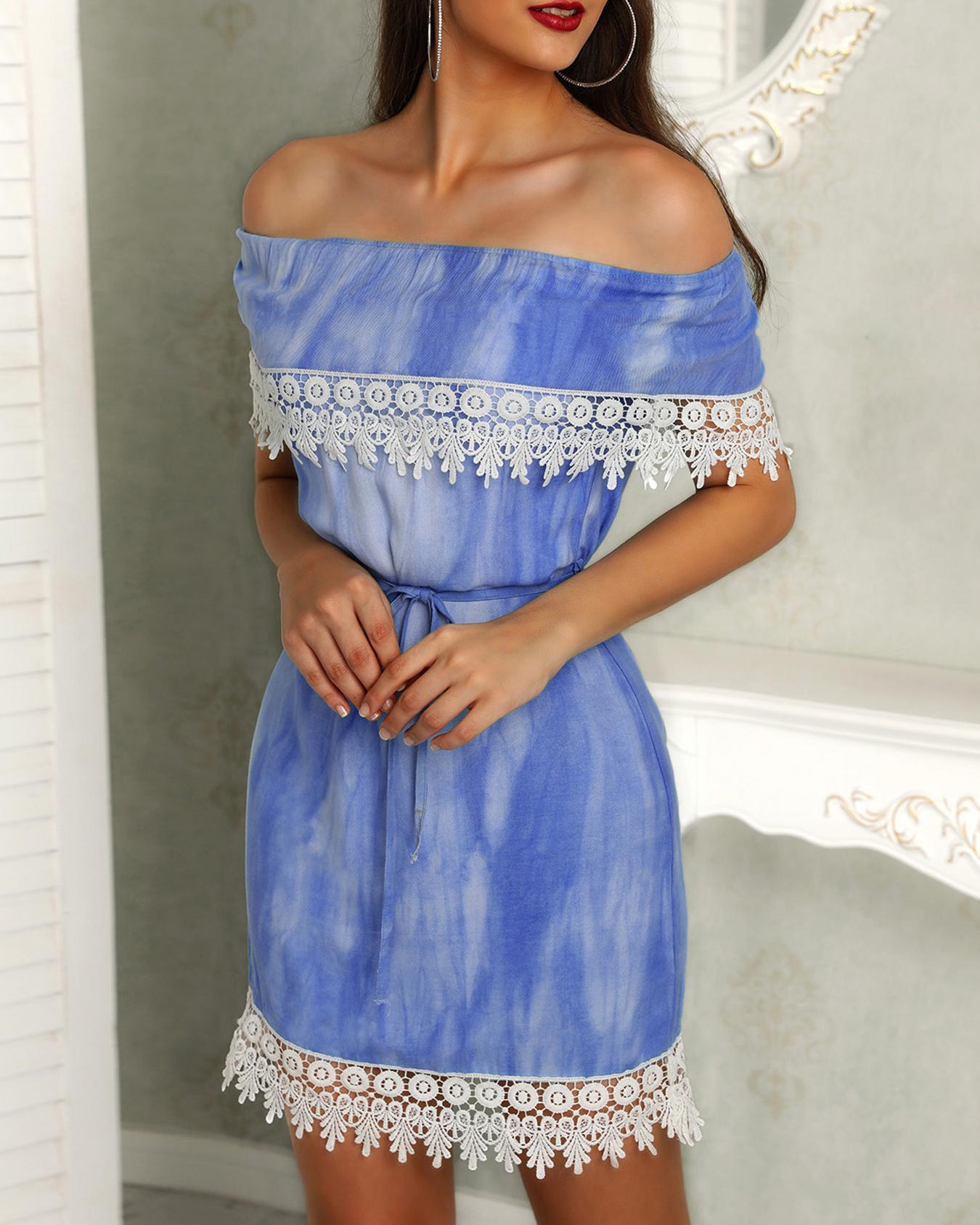 Off Shoulder Crochet Trim Belted Bodycon Dress фото