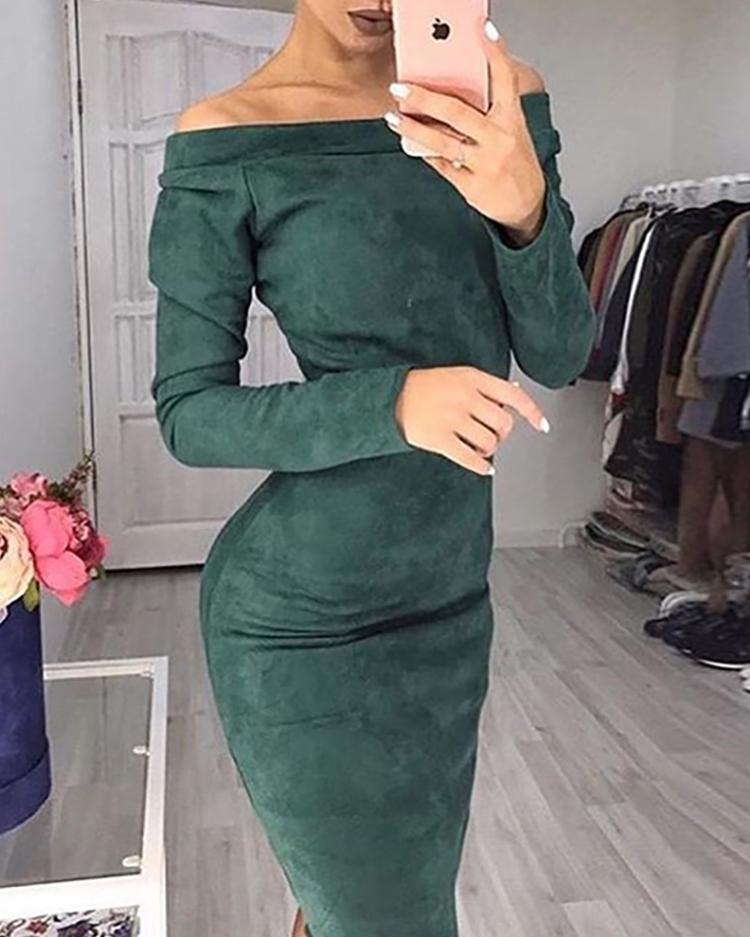 Off Shoulder Long Sleeve Suede Midi Dress