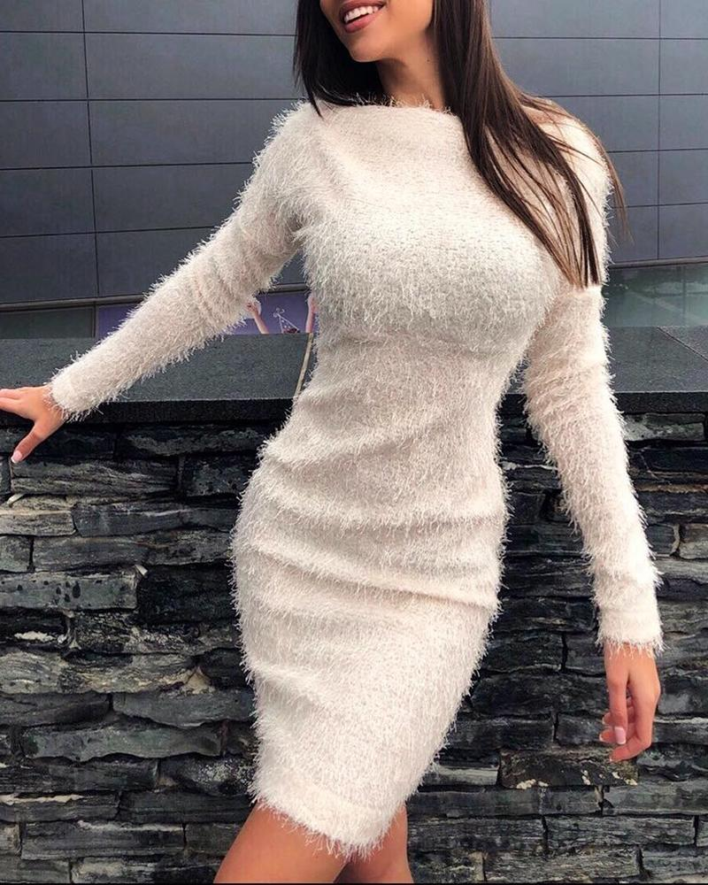 Fluffy Solid Long Sleeve Bodycon Dress фото
