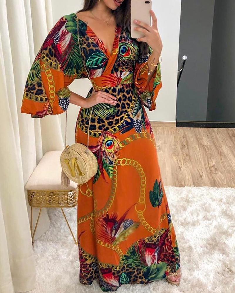 Cheetah / Chain / Peacock Print Maxi Dress фото