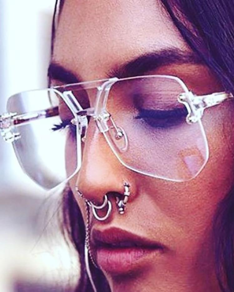Frameless Irregular Lens Sunglasses