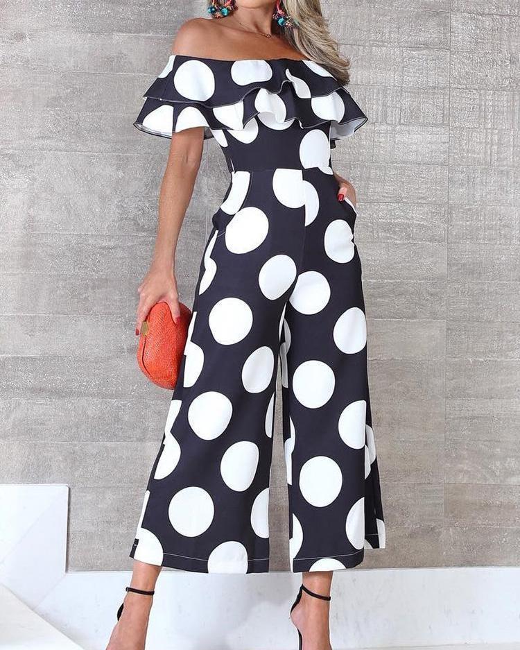 Flounce Trim Off Shoulder Dots Print Jumpsuit