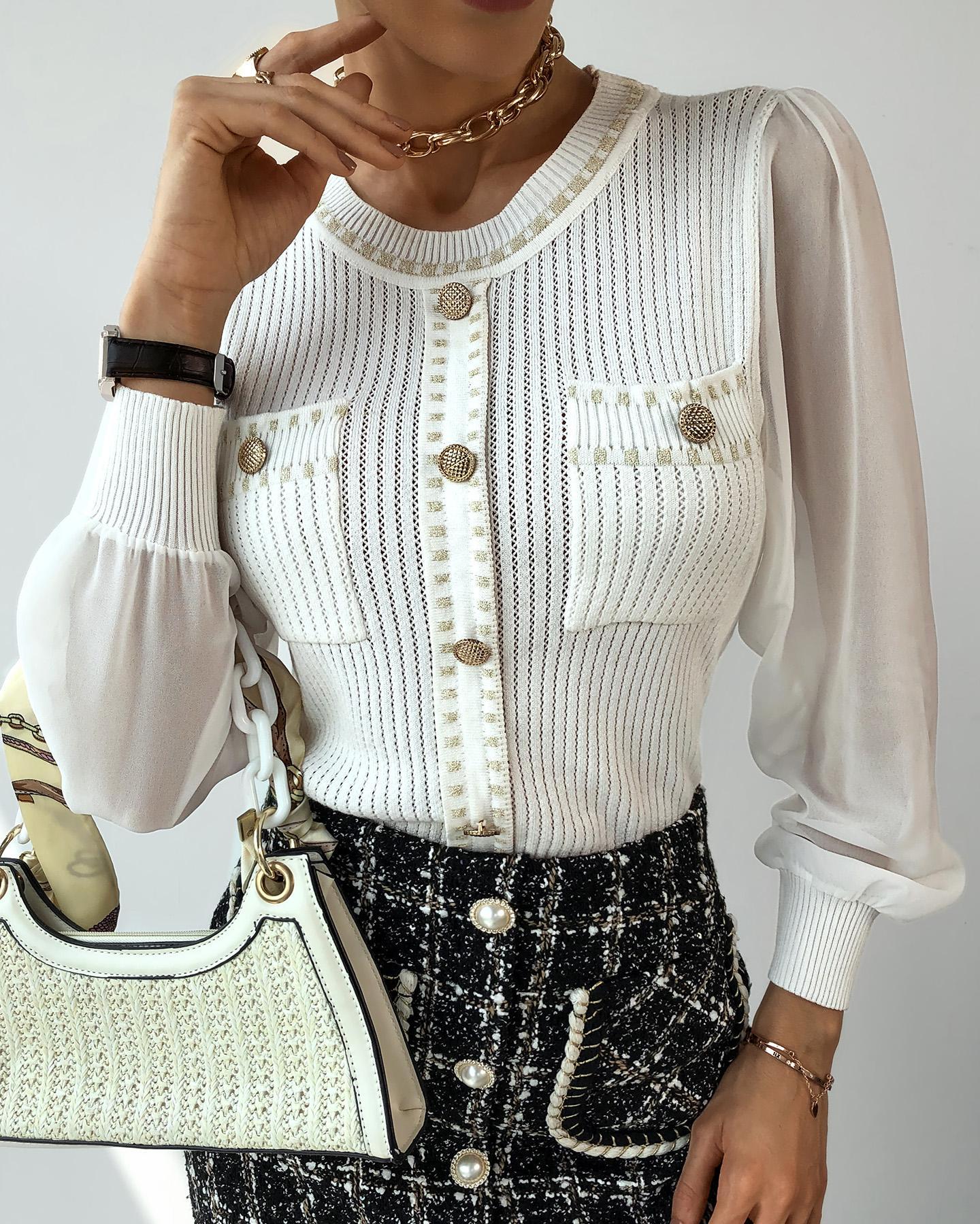 boutiquefeel / Suéter de malla transparente con diseño de bolsillos abotonados