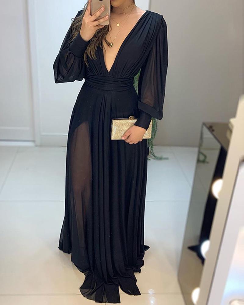 Black Plunge Neck Sheer Mesh Maxi Dress