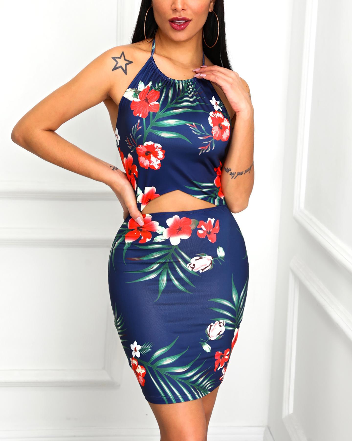 Print Halter Open Back Cutout Bodycon Dress