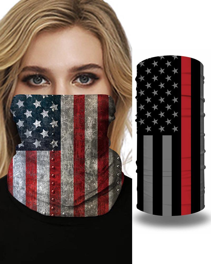 Nation Flag Print Face Bandana Magic Scarf Headwrap Balaclava, Red