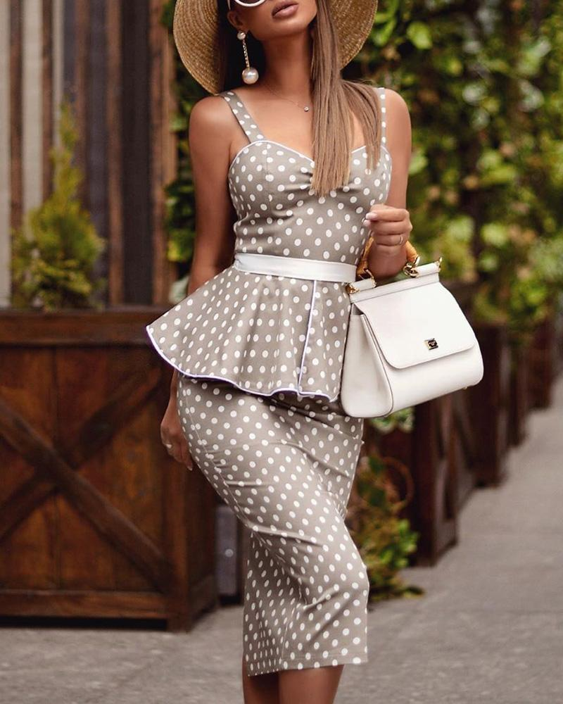 chicme / Cinta fina dot peplum bodycon dress