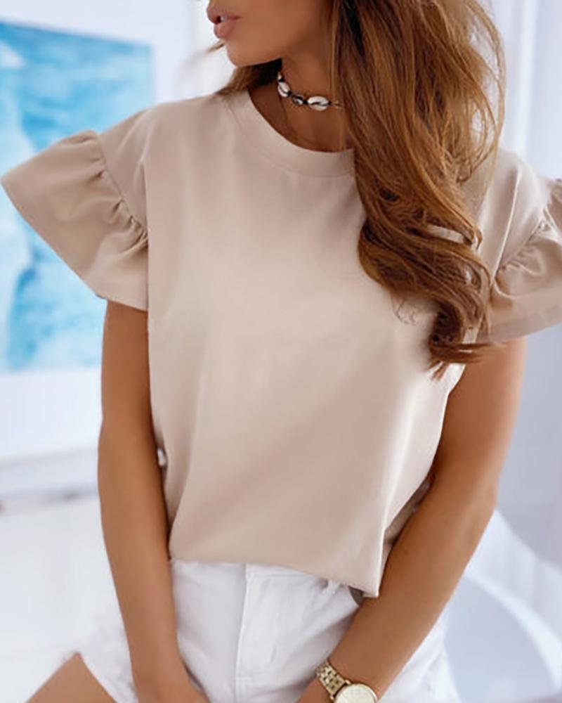 Solid Short Sleeve Ruffles T-shirt фото