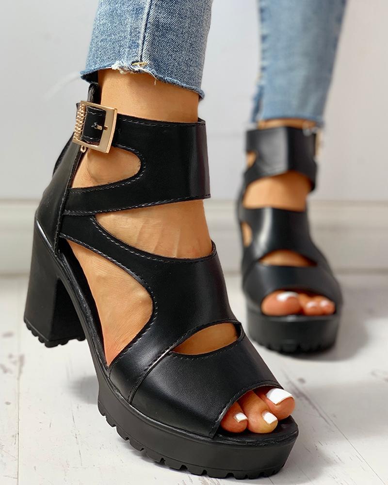 Solid PU Ankle Strap Platform Chunky Heeled Sandals