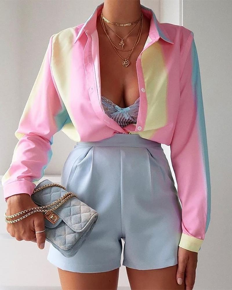 boutiquefeel / Camisa de manga larga con diseño de botones en bloques de color