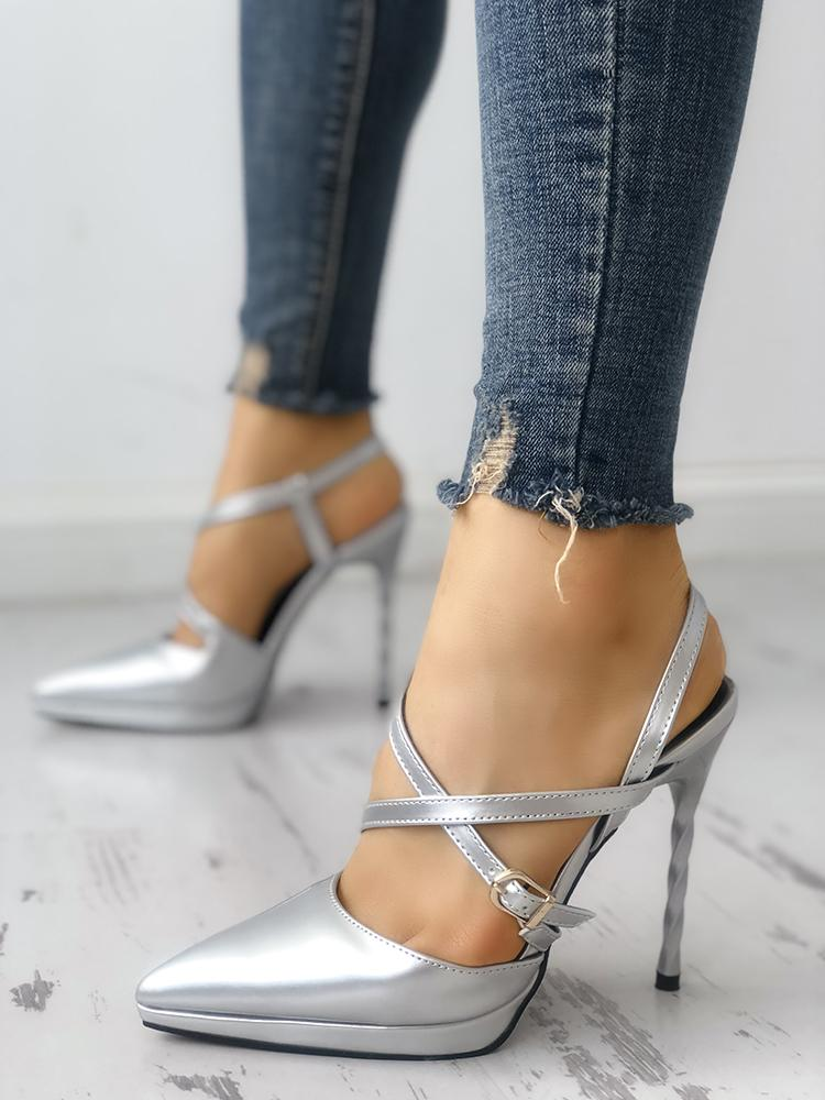 Crisscross Buckled Pointed Toe Thin Heeled Sandals