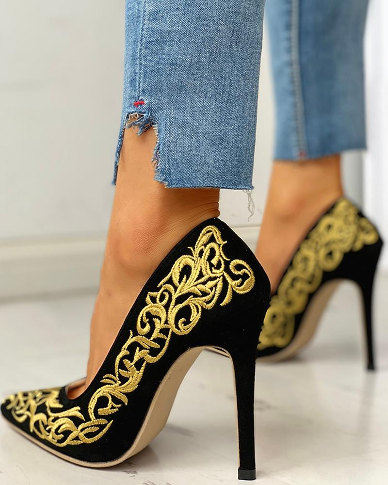 ivrose / Pointed Toe Embroidery Thin Heels