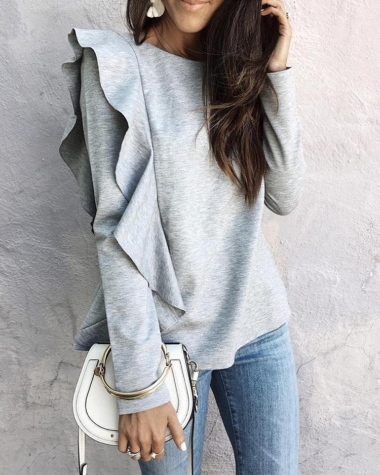 Trendy Frilled Casual Blouse фото
