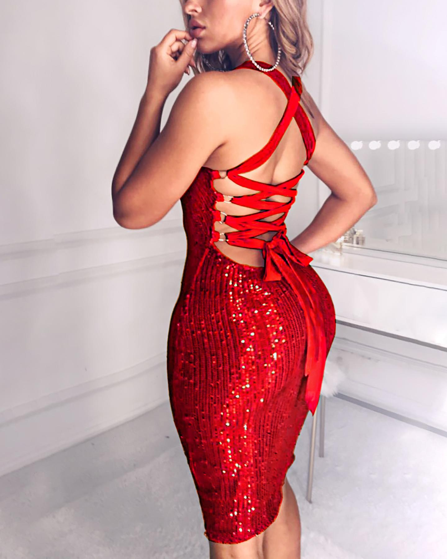 Sequined Bandage Bodycon Dress фото