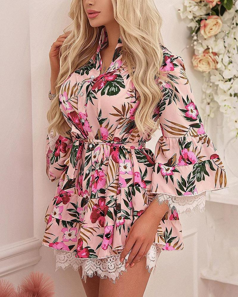 Floral Print Lace Ruffles Hem Dress