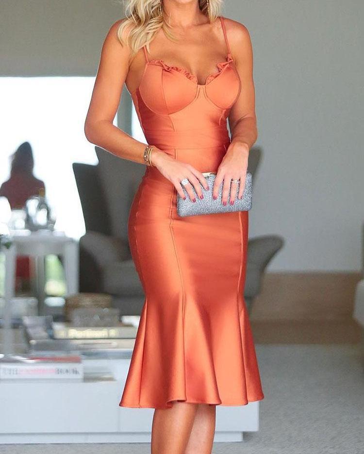 boutiquefeel / Spaghetti Strap Fishtail Hem vestido de festa