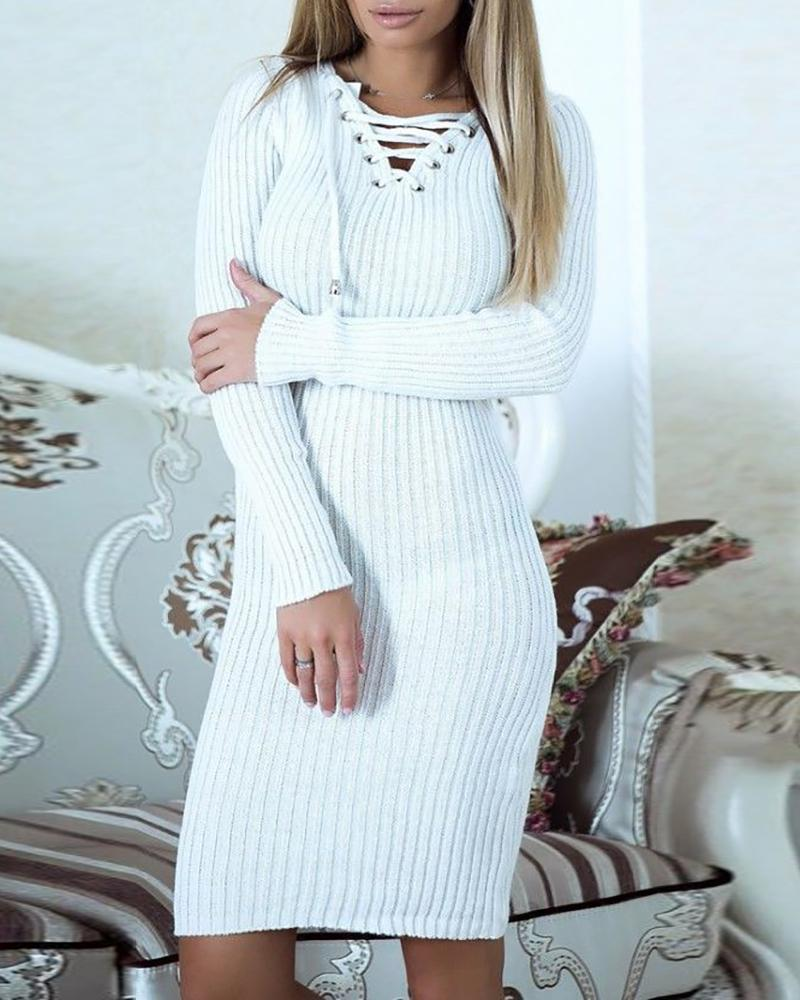 Solid Eyelet Lace-up Ribbed Bodycon Dress, White