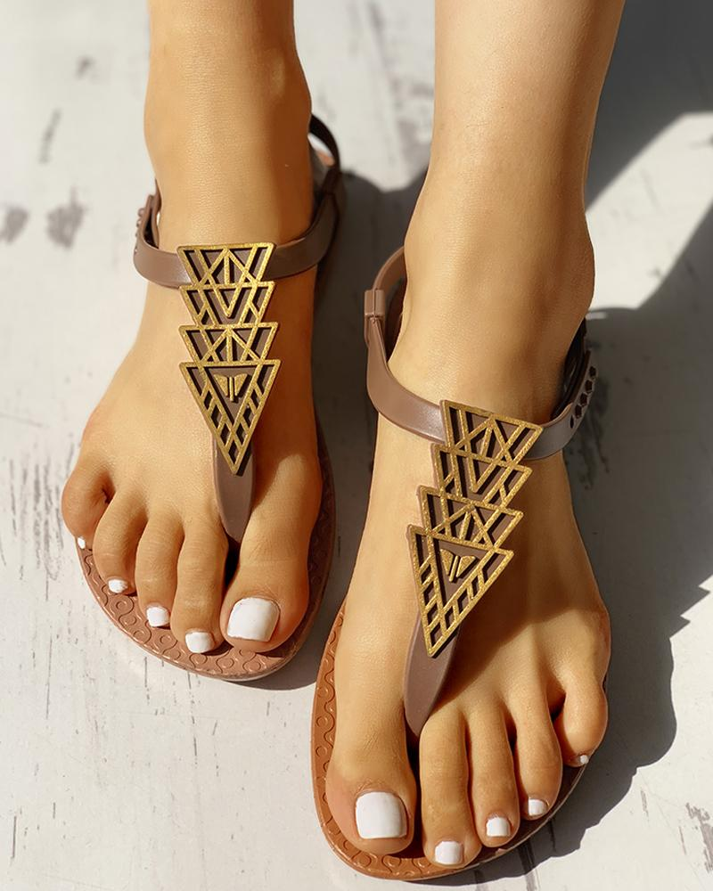 Geo Pattern Casual Flat Sandals