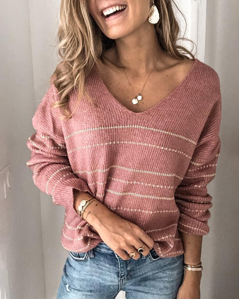 ivrose / Striped Long Sleeve Casual Sweater