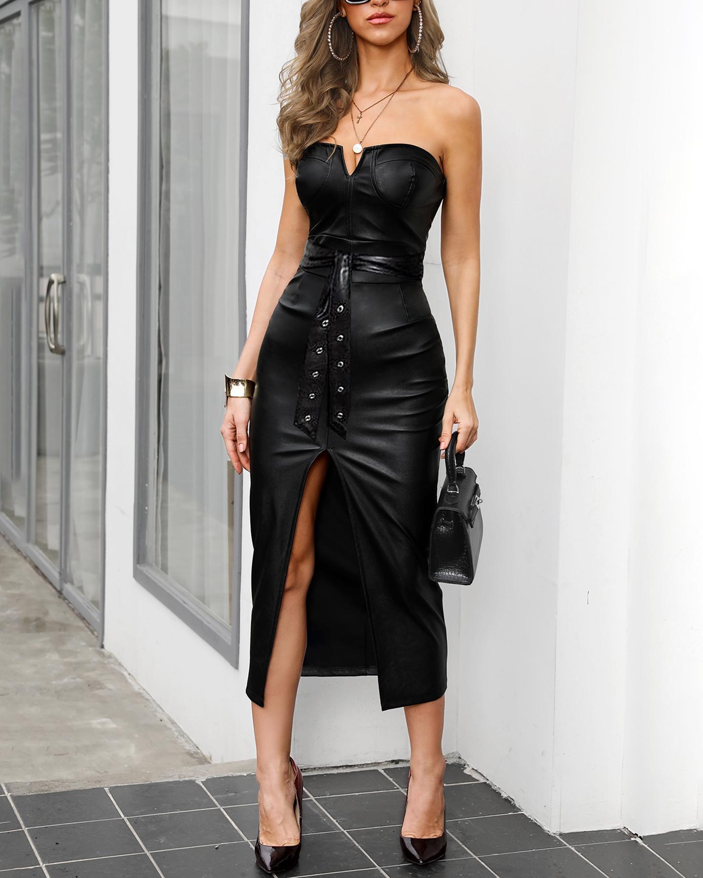 Solid Tube Slit Coated PU Leather Dress фото