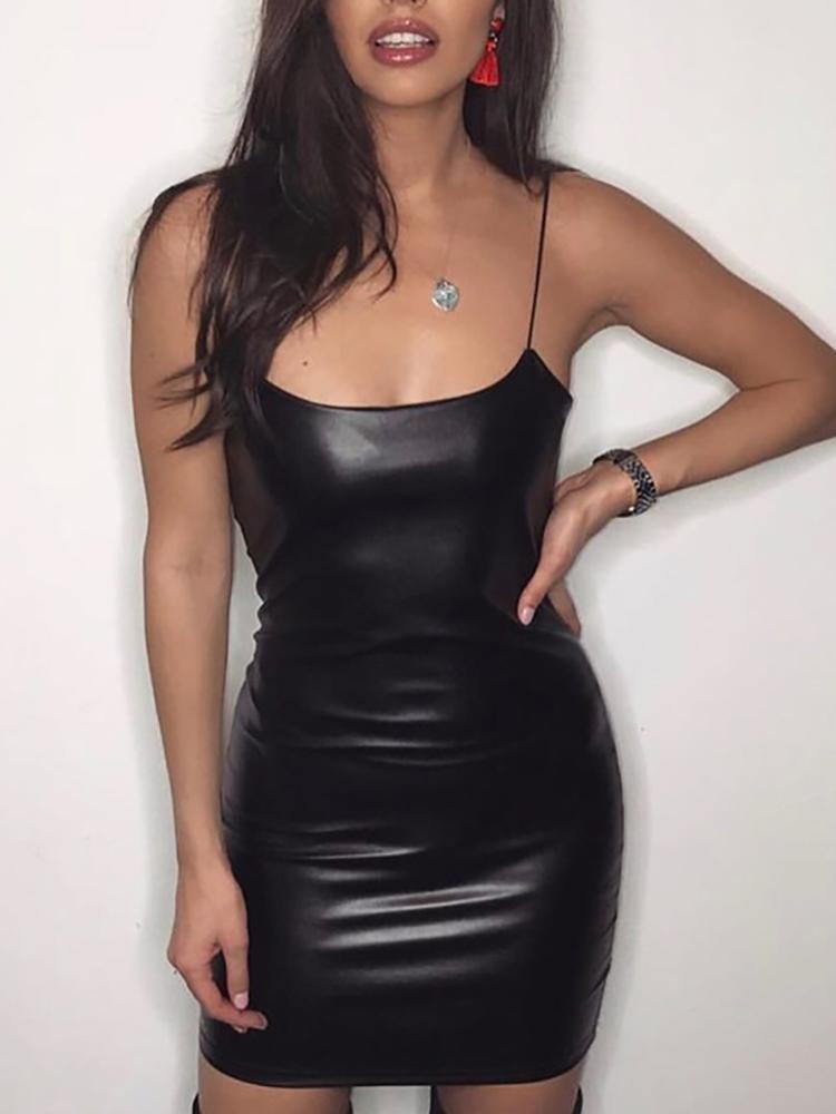 Spaghetti Strap Black Mini Dress
