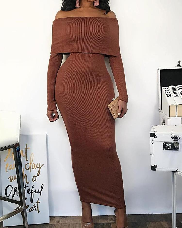 Fold-Over Off Shoulder Pencil Dress