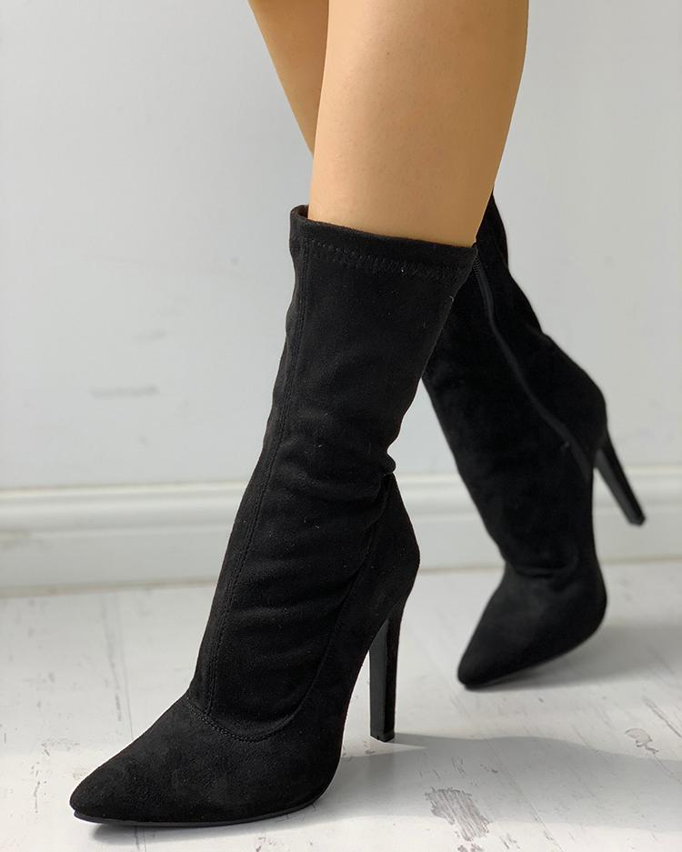 chicme / Solid Side Zipper Pointed Toe Heeled Boots