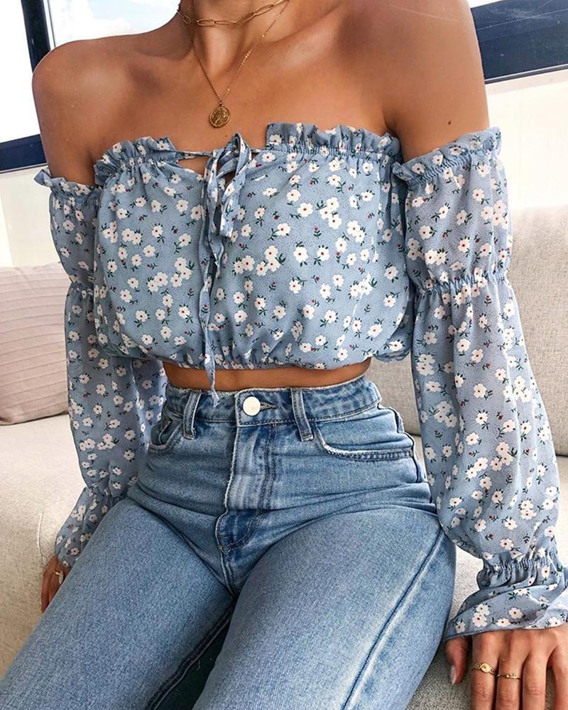 Off Shoulder Floral Print Tied Detail Blouse фото