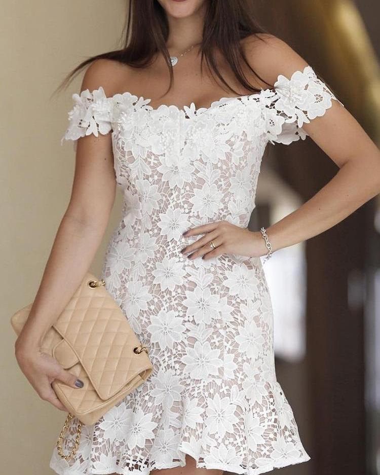 Off Shoulder Crochet Lace Pep Hem Mini Dress
