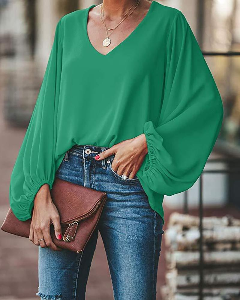 V Neck Puff Long Sleeve Loose Blouse, Green