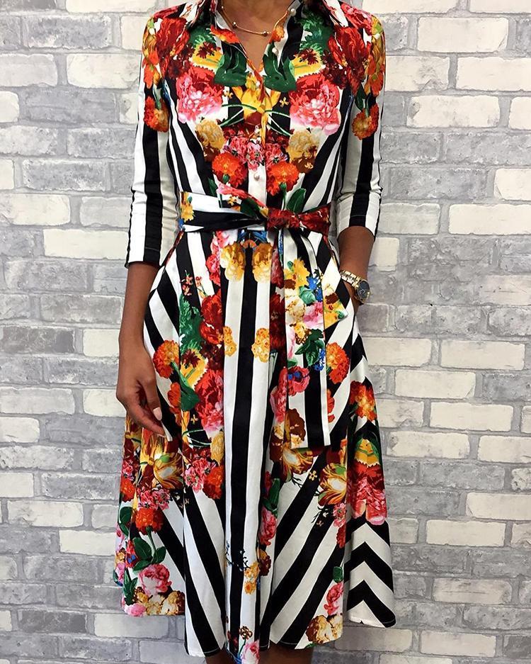 Floral & Striped Print Half Sleeve Shirt Dress, Multicolor