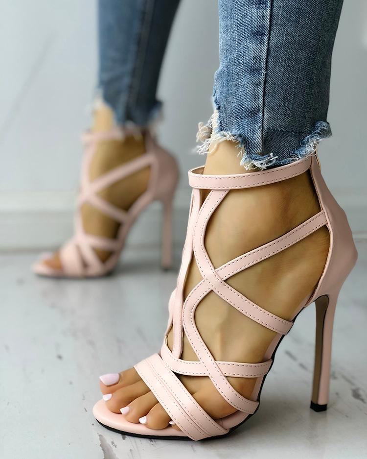 Solid Hollow Out Thin Heeled Sandals