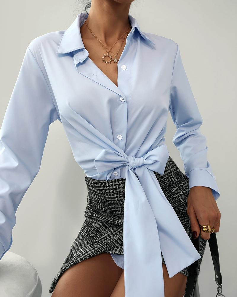 Long Sleeve Tie Front Casual Shirt фото